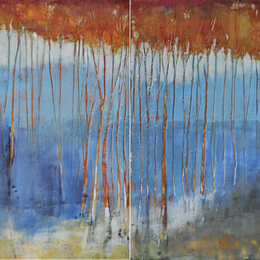 Encaustic Diptych 16x32 - 2016 two pieces 16x16 each