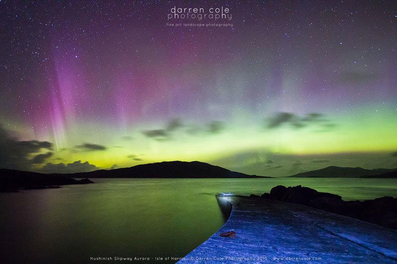 Hushinish Slipway Aurora - Darren Cole Photography