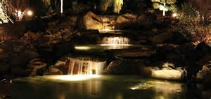 underwater lighting for waterfall