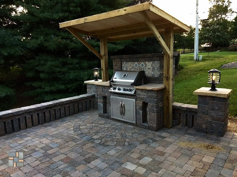 Custom Grill Island and Awning