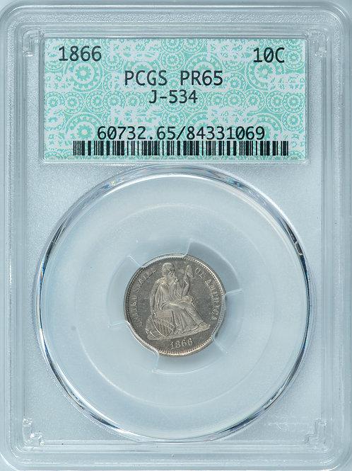 1866 10C J-534 PR65 PCGS