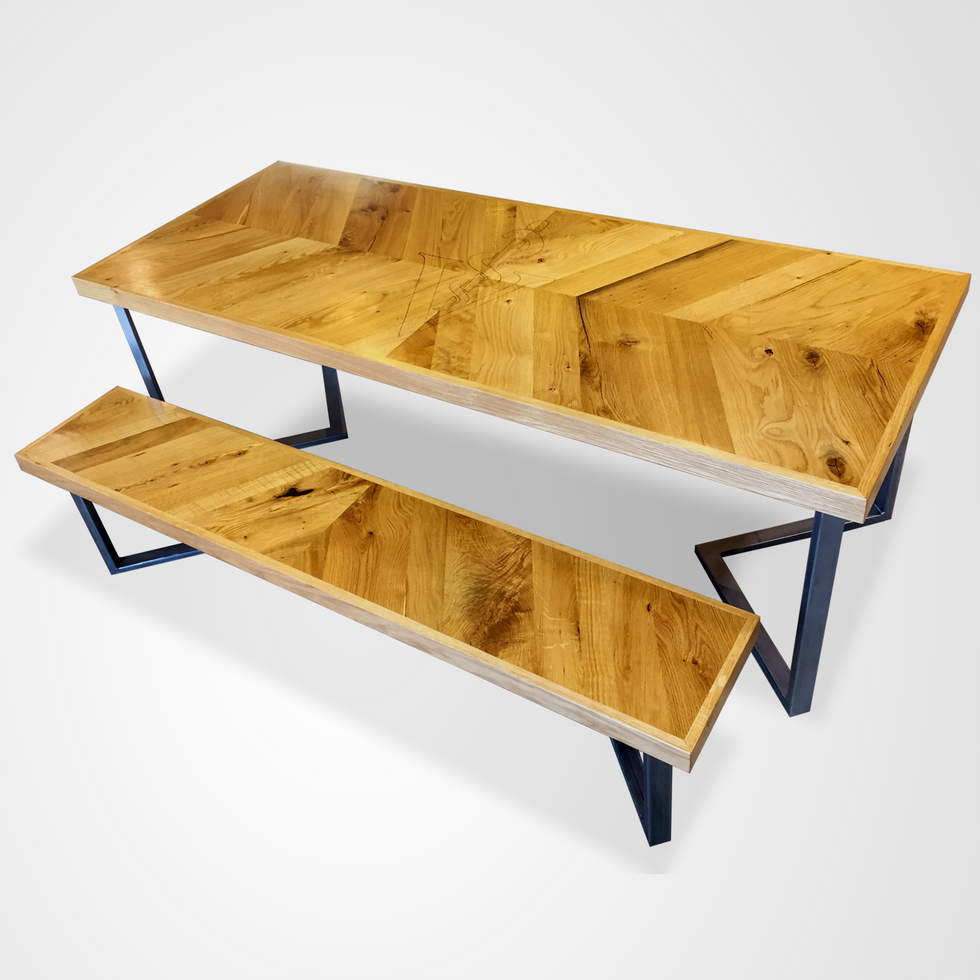 Chevron Conference Table and Bench