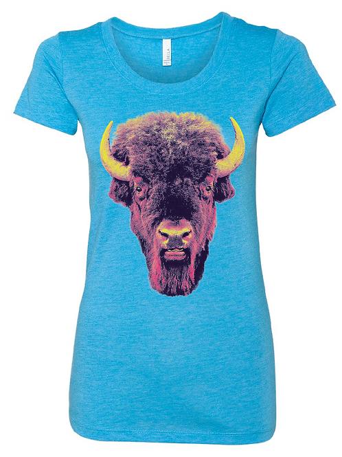 Buffalo Stare on Aqua - Women's fit