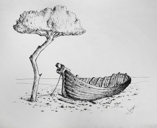 Platja dels pins amb un vaixell sense acabar -1950-