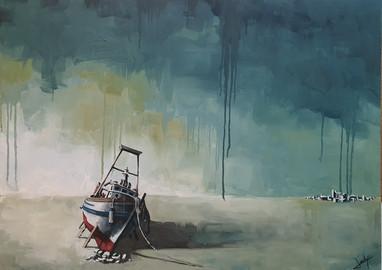 Vaixell varat en un paisatge abstracte