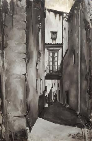 🔴Vista del carrer del Lloro amb el pas de Can Creus -Anys 20-
