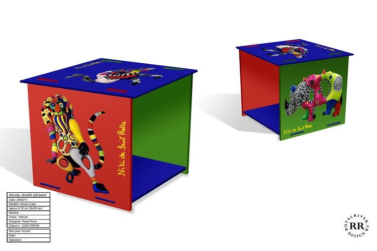 tabouret cube Niki de st-Phalle Royal Ri
