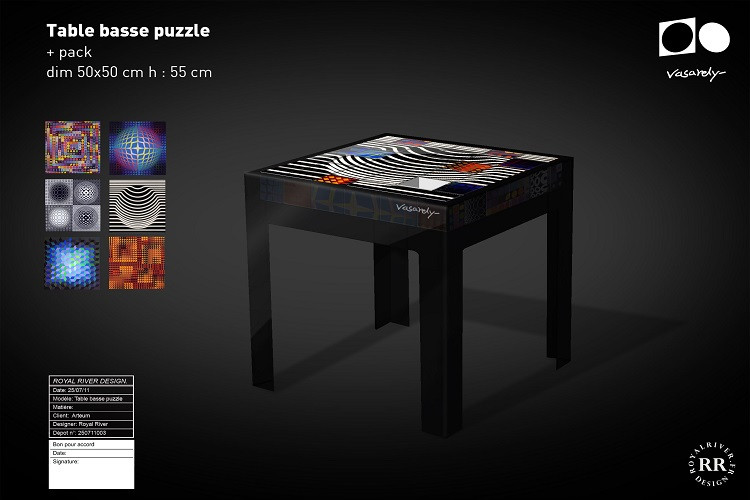 table basse puzzle vasarely Royal River