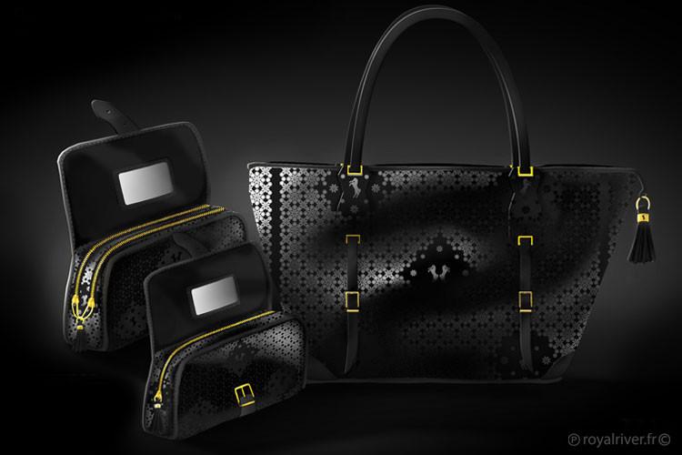 luxe A Shaqab sacs noir Royal River desi