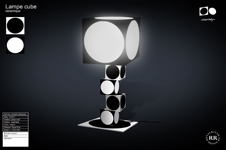 lampe cube vasarely noir blanc Royal Riv