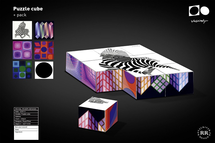 puzzle cube Vaserely Royal River design