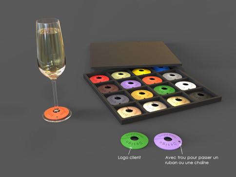 Silicon markers pour verres à pied