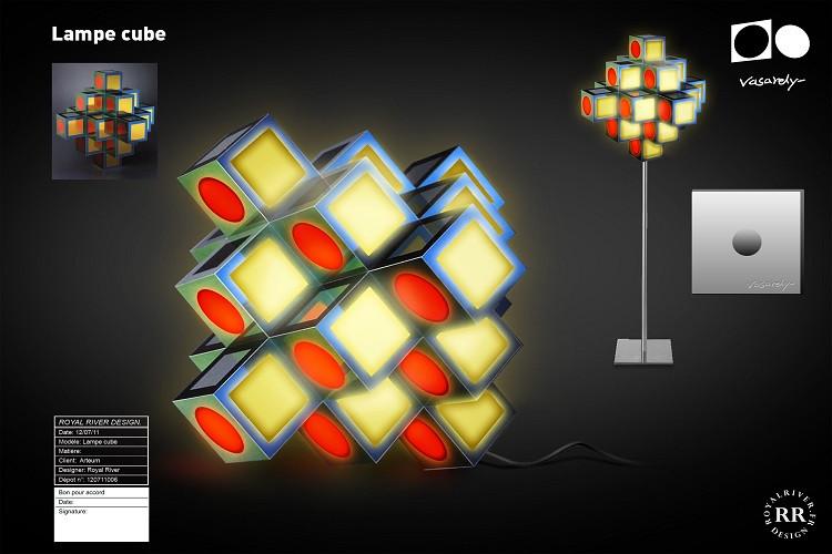 lampe cube vasarely Royal River design g