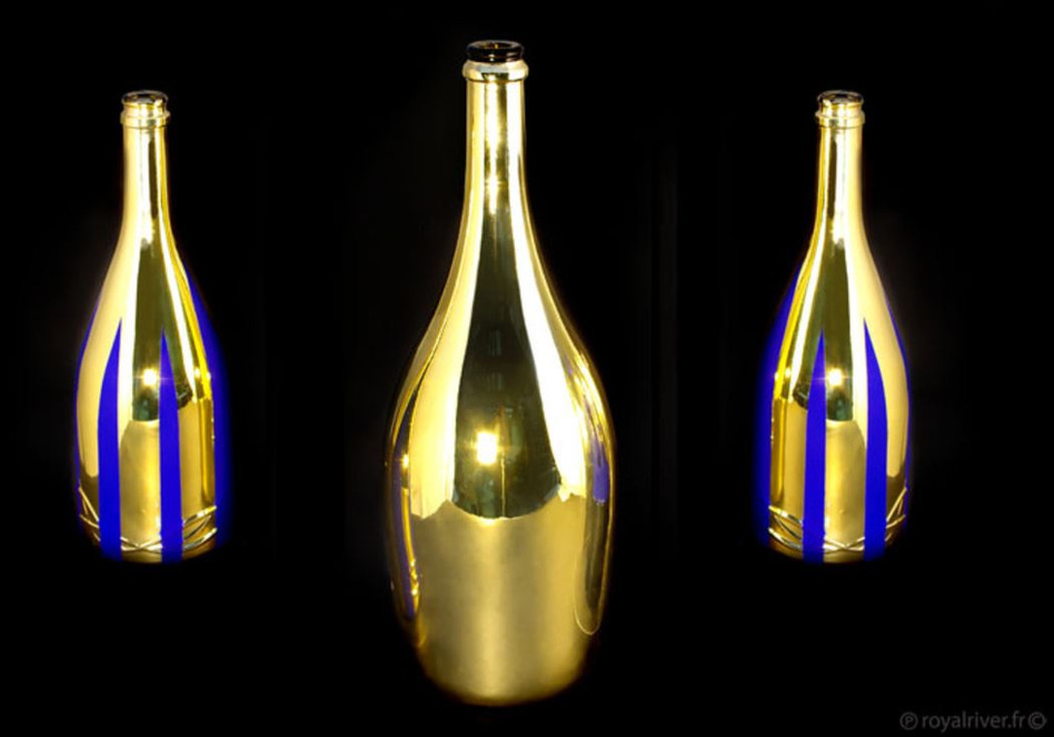 Alcool bouteille packaging bleu or Royal