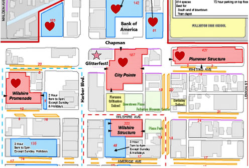 Map of the parking area's for Glitterfest