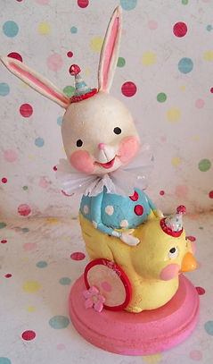 Rabbit in Chick Cart  the polka dot pixi