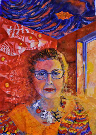 Self Portrait with Red Fish