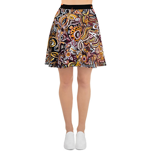 """Orange"" Doodle Skater Skirt"