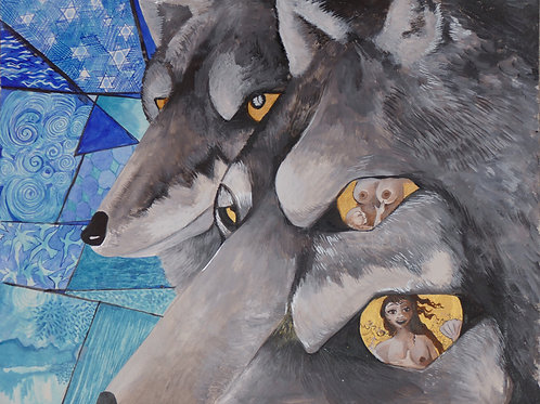 """Looking the Wolf in the Eye"" Art Print"