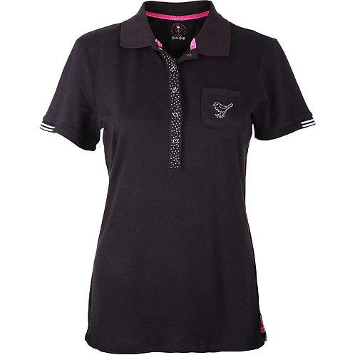 girls golf Polo 'HEART SHAPE' (schwarz)