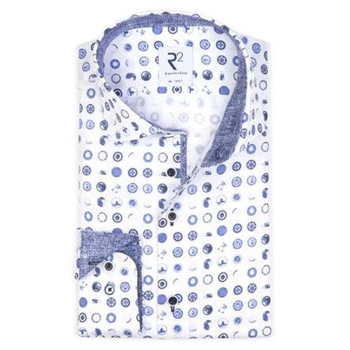 White circle print cotton shirt