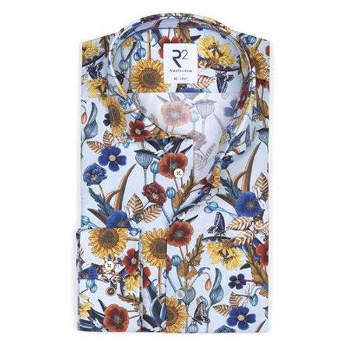 Light blue flower print cotton shirt SL7