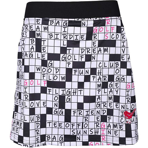 girls golf Skort 'CROSSWORD' (weiß/schwarz)