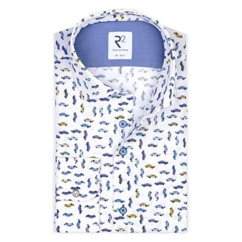 White car print cotton shirt