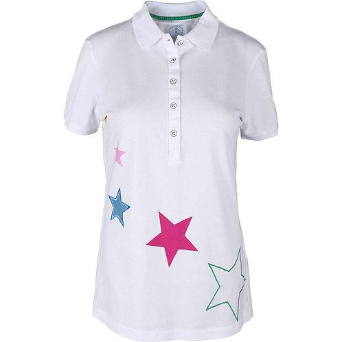 girls golf Polo 'MULTICOLORED STARS' (weiß)
