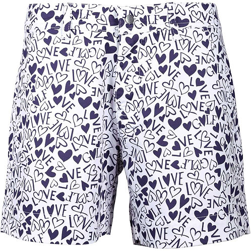 girls golf Hot Pants 'HEARTS & BLUE LOVE' (blaue Herzen)