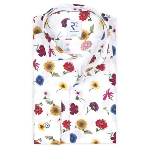 White flower print cotton shirt