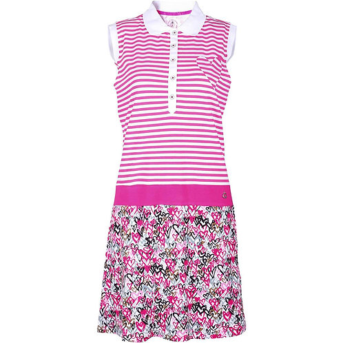 girls golf Polo-Kleid 'LOVE IS IN THE AIR' (pink/schwarz)