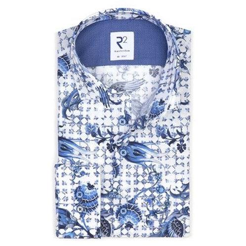 White Dutch print cotton shirt