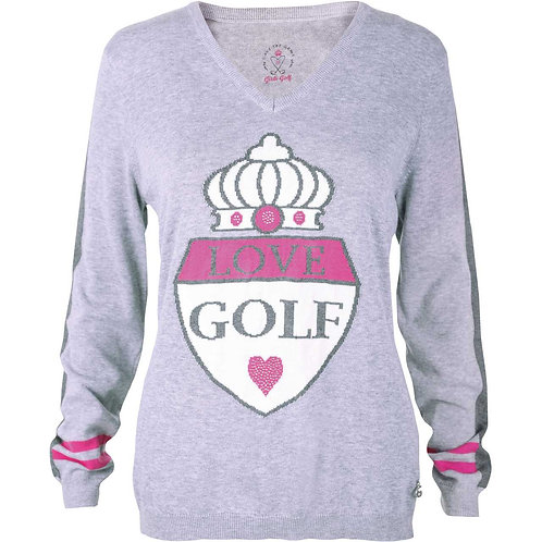 girls golf Pullover 'GIANT CREST' | grau, lila