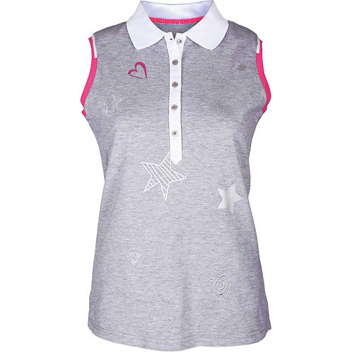 girls golf ärmelloses Polo 'STAR LOVE' (grau)