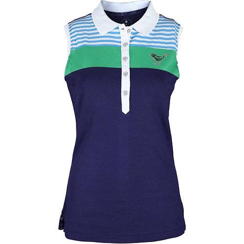 girls golf ärmelloses Polo 'STRIPES UP' (navy)