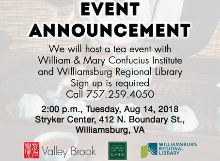 Tea Event in Williamsburg, VA on Aug 14