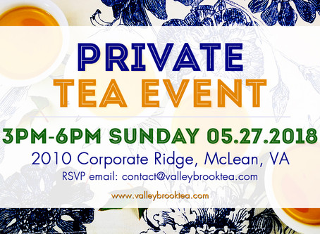 Private Tea Event on Sunday May 27, 2018