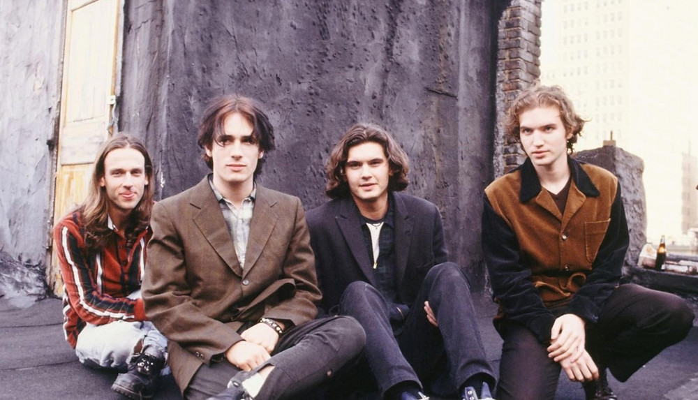 Buckley and band 1995: (L-R) Matt Johnson, Buckley, Mick Grondahl (bass), Michael Tighe (guitar).