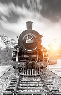 vintage black steam powered railway trai