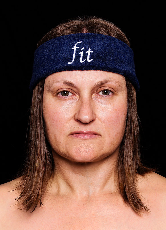 fit (smother series) - a head band embroidered with the word fit