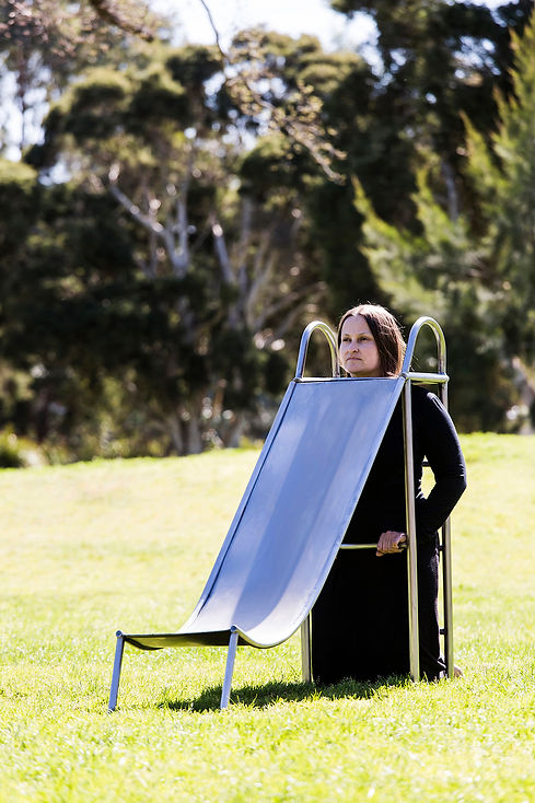 slope (smother series) - a three quarter sized wearable playground slippery dip slide made from stainless steel