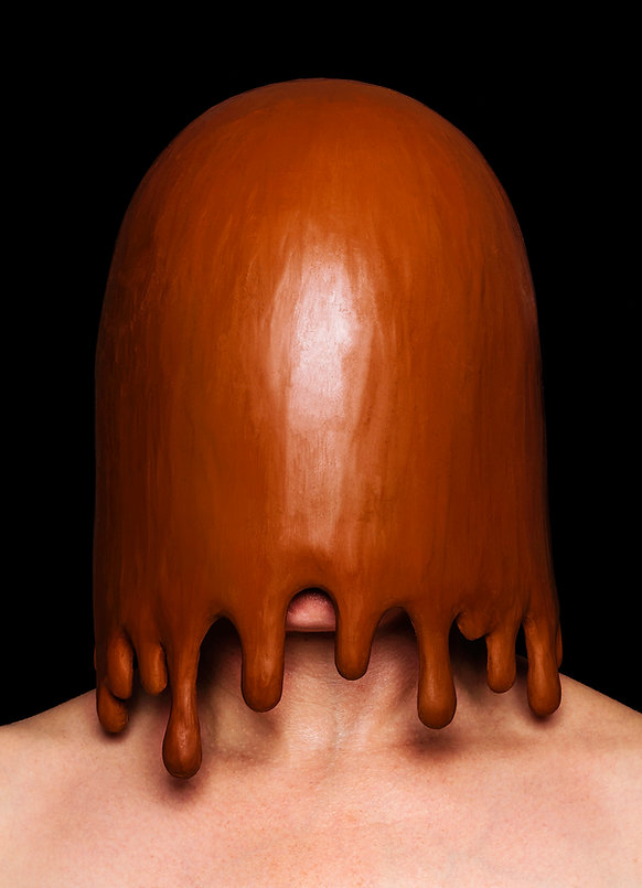 purge (smother series) - a dripping hood made from plasticine, designed to look like a bucket of shit has been poured over the head