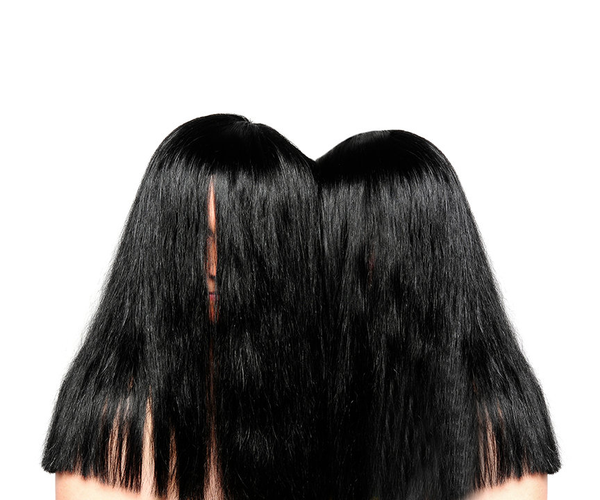 growth (bind series) - a two headed wig handmade for myself and my sister to represent our close connection and genetic heritge
