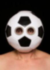 game (smother series) - a mask made from a soccer ball with sterling silver cut outs revealingthe eyes