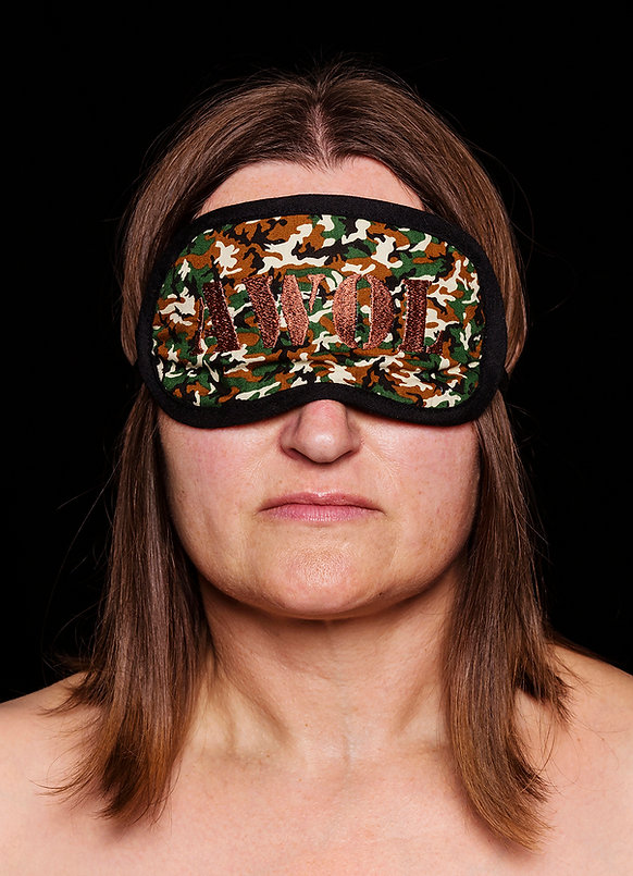 absent (smother series) - a sleeping mask embroidered with the letters AWOL