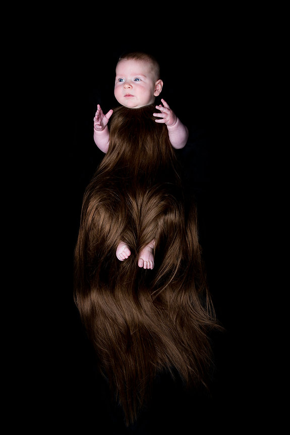 hirsute (smother series) - a hair onesie made for a child from real hair