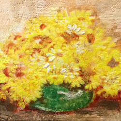 yellow flowers in green vase  SOLD