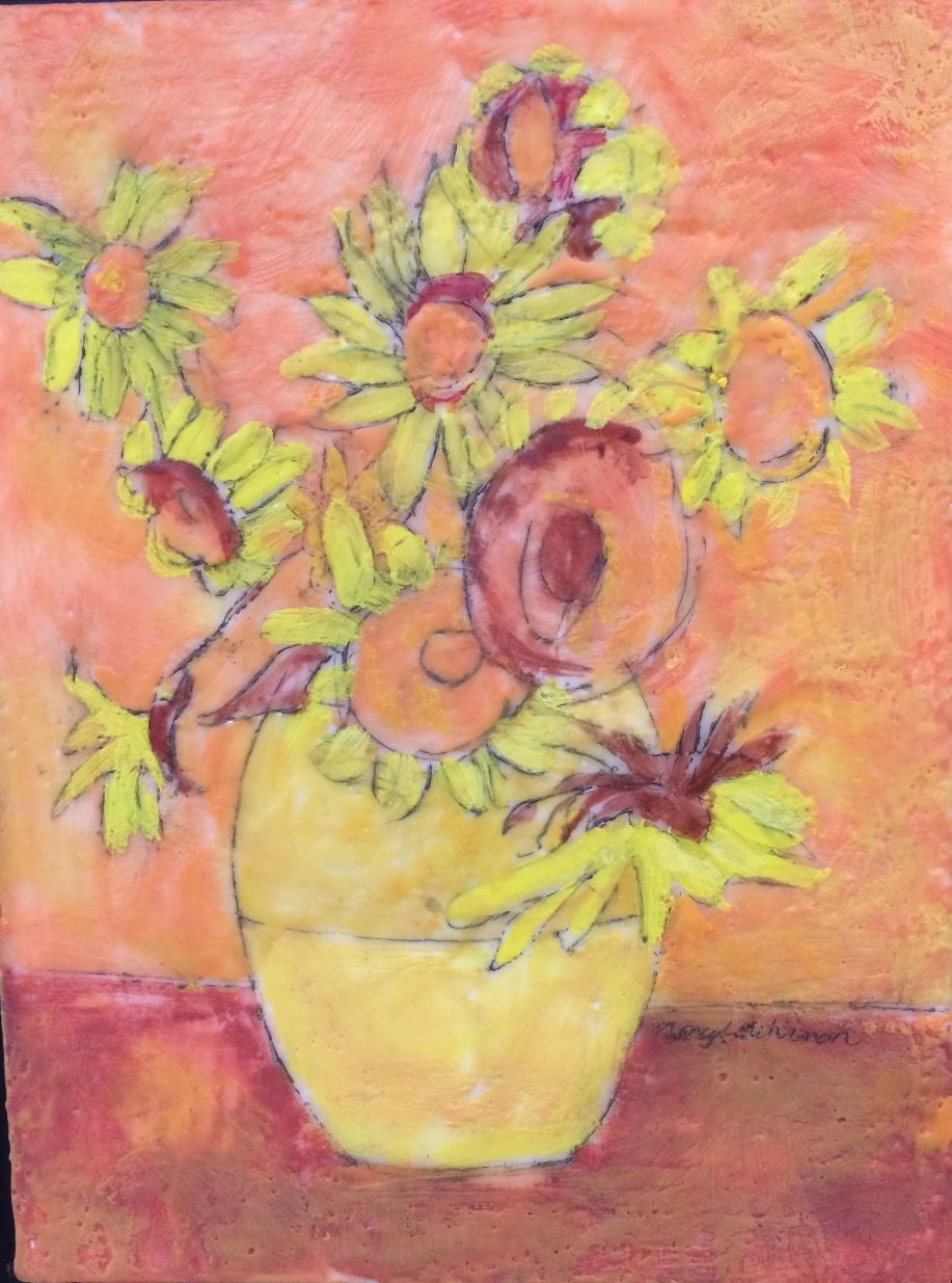 Sunflowers in yellow vase - SOLD