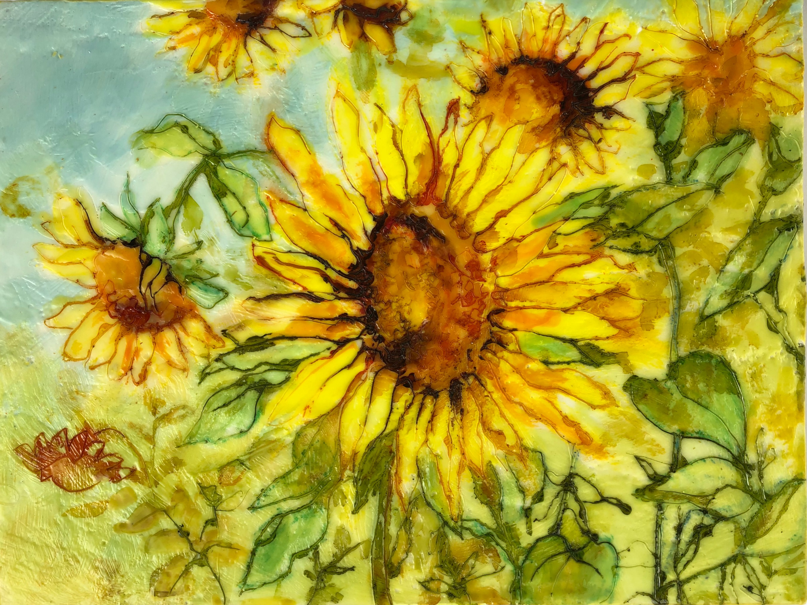 Sunflower blues  SOLD
